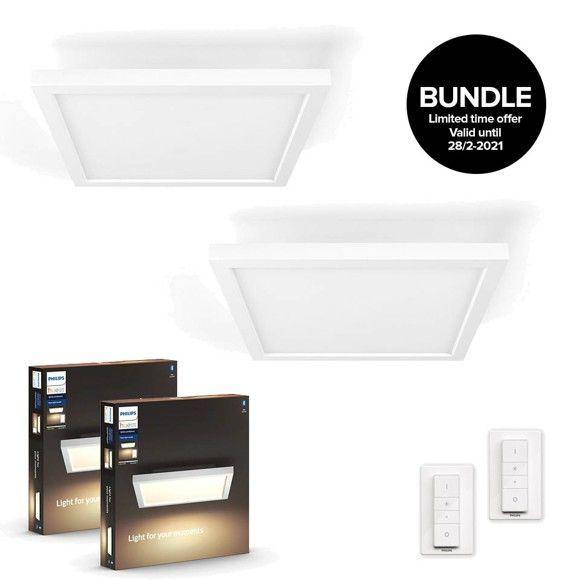 Philips Hue Doppelpack Aurelle White & Ambiance Deckenleuchte 30 x 30 cm + 2 Dimmschalter - Bluetooth - 3% Shoop möglich