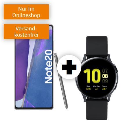Samsung Galaxy Note 20 mit Watch Active 2 40mm im Debitel Telekom (18GB LTE, Allnet/SMS, VoLTE) mtl. 31,99€ einm. 49€ |nach Ankauf 9,48€ mtl
