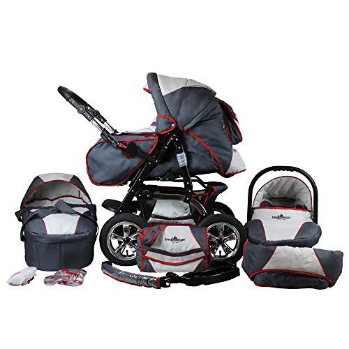 Bergsteiger Milano Kombikinderwagen + Autositz mit Travelsystem (Megaset 10 - teilig) Grey + Red Stripes