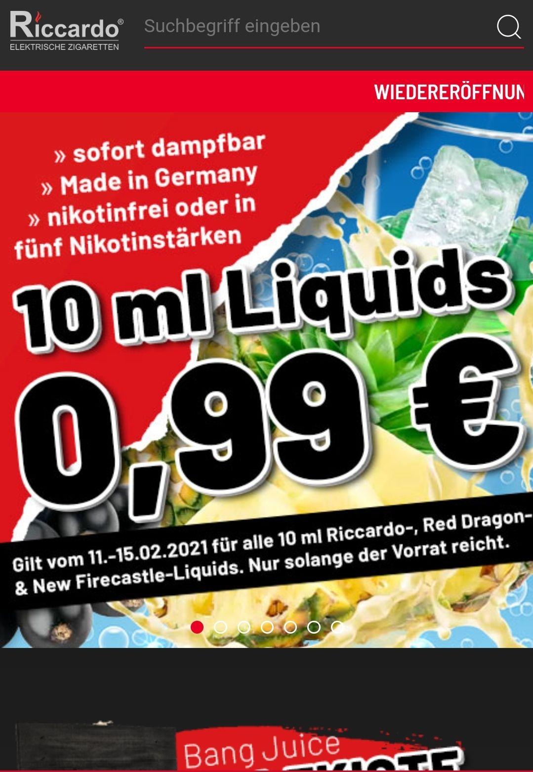 Riccardo e-zigarette bietet liquid von Red Dragon liquids für 0.99€