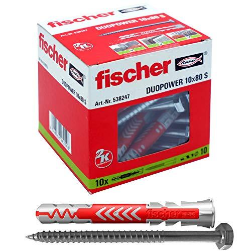 fischer DUOPOWER 10 x 80 S-Universaldübel mit Schraube 10er Set