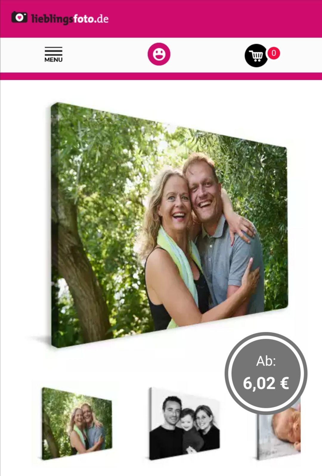 80% Foto auf Leinwand, z.B. 90x60 cm für 12,99€ zzgl. Versand