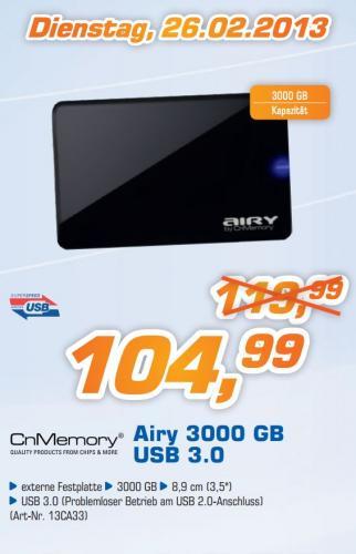 "Atelco: CnMemory Airy 3TB USB 3.0 8,9cm (3,5"") 104,99€ // Bei MediMax 99,99€ Bundesweit"