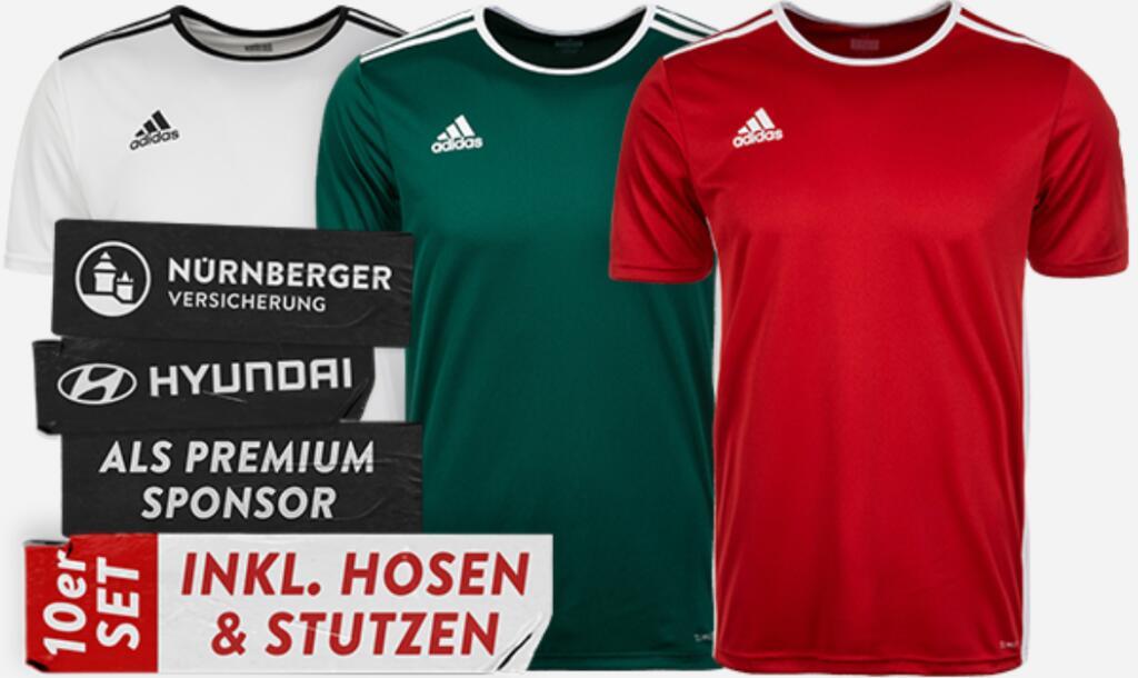 10er Set Adidas Entrada 18 Trikotset für 99€ inkl. Versand: Trikot, Hosen & Stutzen mit Premium Sponsor (Nürnberger Versicherung, Hyundai)