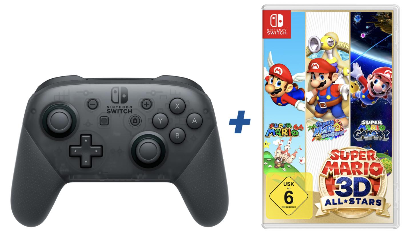 Nintendo Switch Pro Controller + Super Mario 3D All-Stars für zusammen rd. 90€ (je nach Füllartikel)