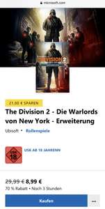 The Division 2 & Warlords Erweiterung XBOX je 8,99€