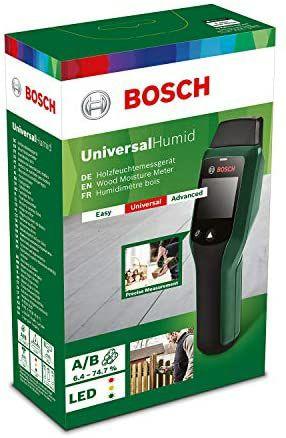 Bosch Feuchtemessgerät UniversalHumid (Holzgruppenauswahl, Holzgruppenaufkleber in 12 Sprachen, Kartonschachtel)