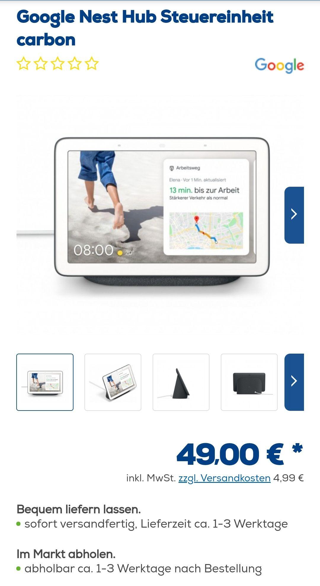 Google Nest Hub - carbon - euronics 53,99 Euro
