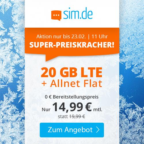 20GB LTE sim.de Tarif für mtl. 14,99€ mit Allnet- & SMS-Flat + VoLTE & WLAN Call (3 Monate / 24 Monate; Telefonica-Netz)