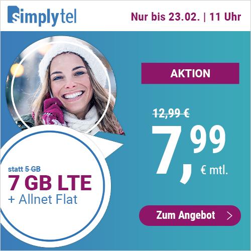 7GB LTE simplytel Tarif für mtl. 7,99€ mit Allnet- & SMS-Flat + VoLTE & WLAN Call (3 Monate / 24 Monate; Telefonica-Netz)