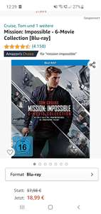 Mission Impossible 6 Movie Collection (Blu-ray) - Amazon Prime