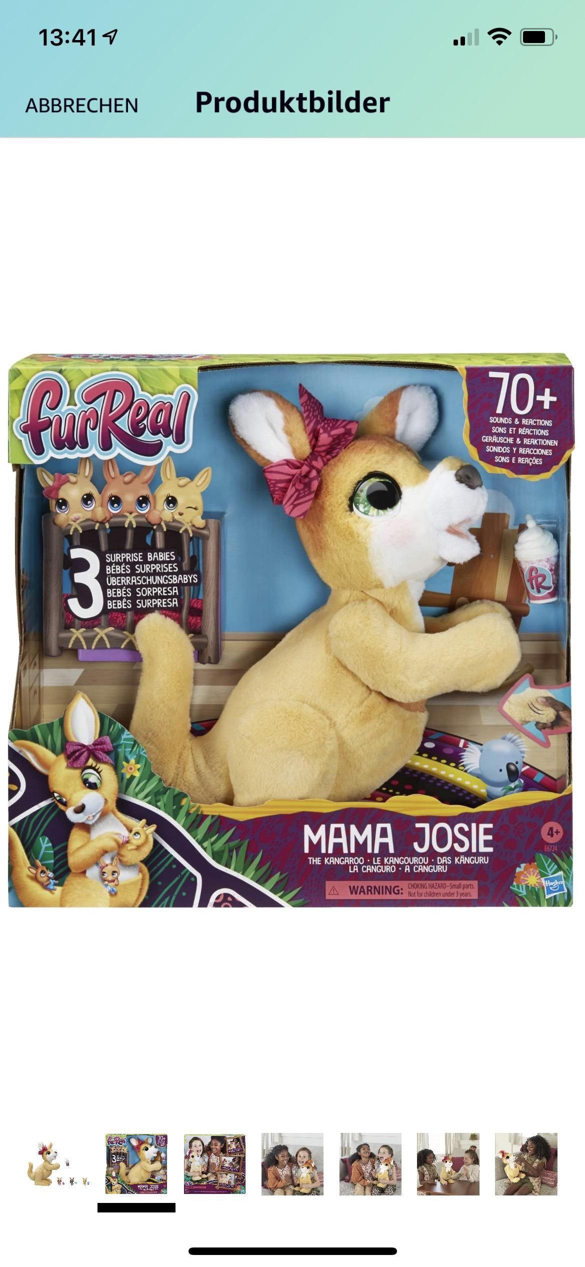 Hasbro E6724 Mama Josie, das Känguru, interaktives Plüschspielzeug, 70+ Geräusche und Reaktionen, ab 4 Jahren