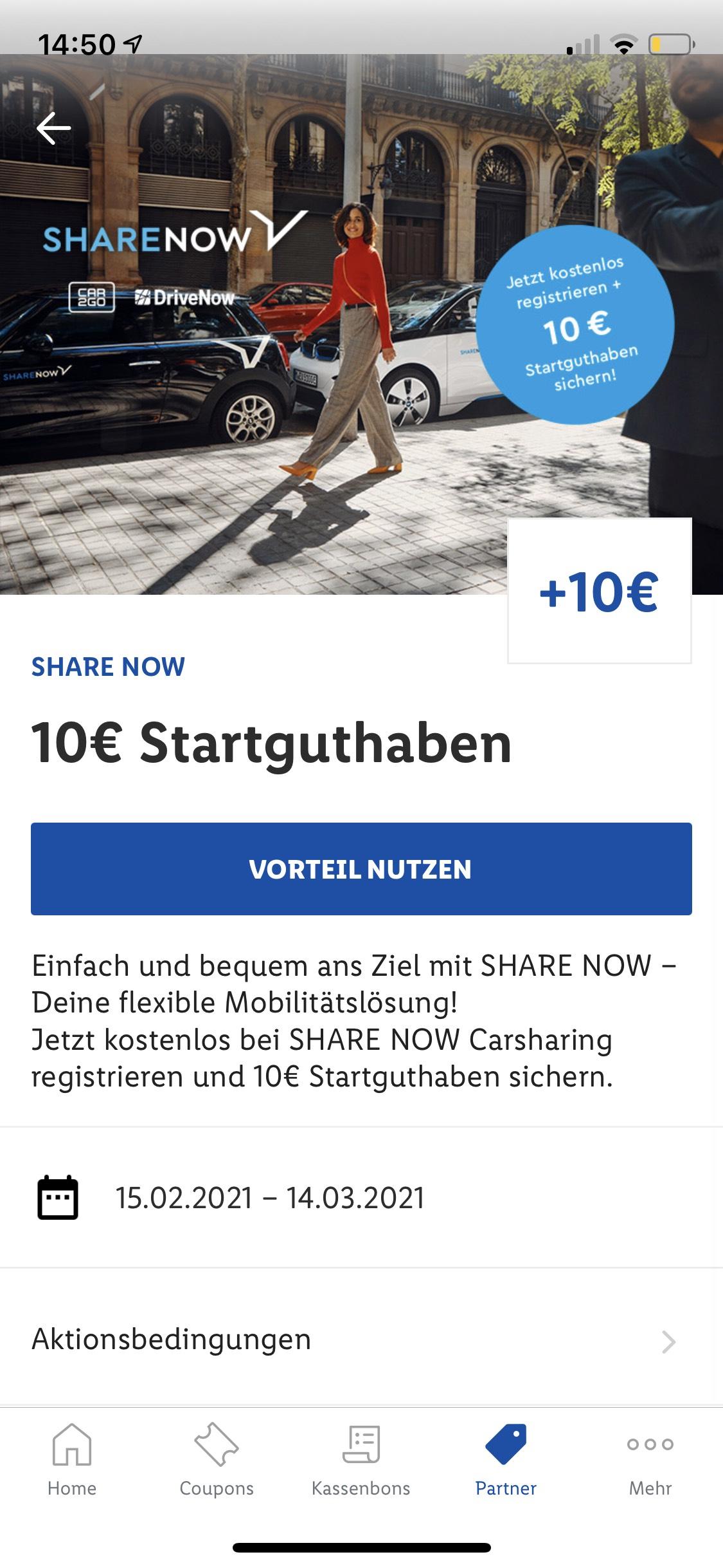 Share Now 10€ Startguthaben in der Lidl Plus App nur für Neukunden
