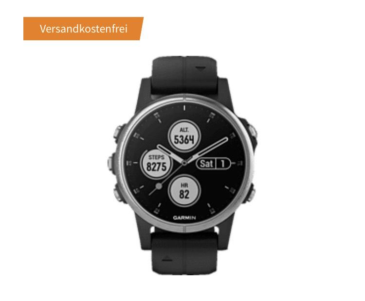 GARMIN Fenix 5S Plus Smartwatch Faserverstärktes Polymer Silikon, One Size/20 mm, Silber/Schwarz NL 10€ GUTSCHEIN