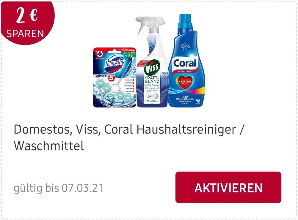 [Rossmann] Domestos, Coral, Viss mit Coupon und Cashback für 0,47€