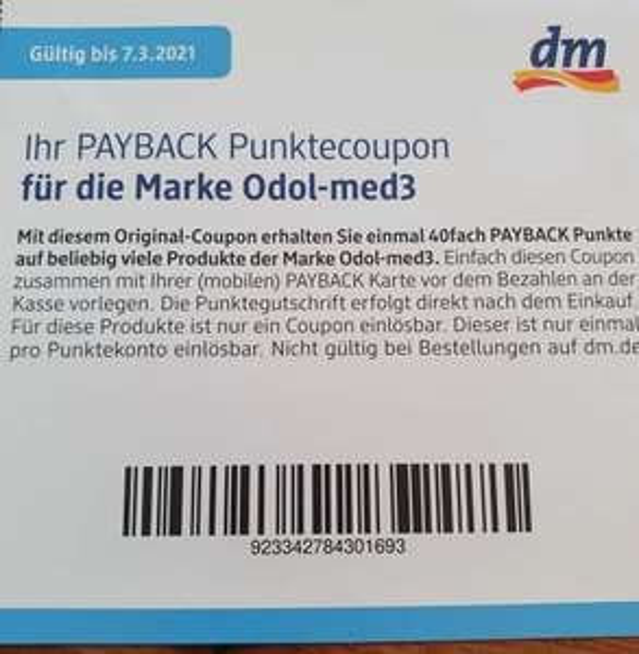[dm Payback] 40fach Payback Punkte auf Odol-med3 Produkte bei dm