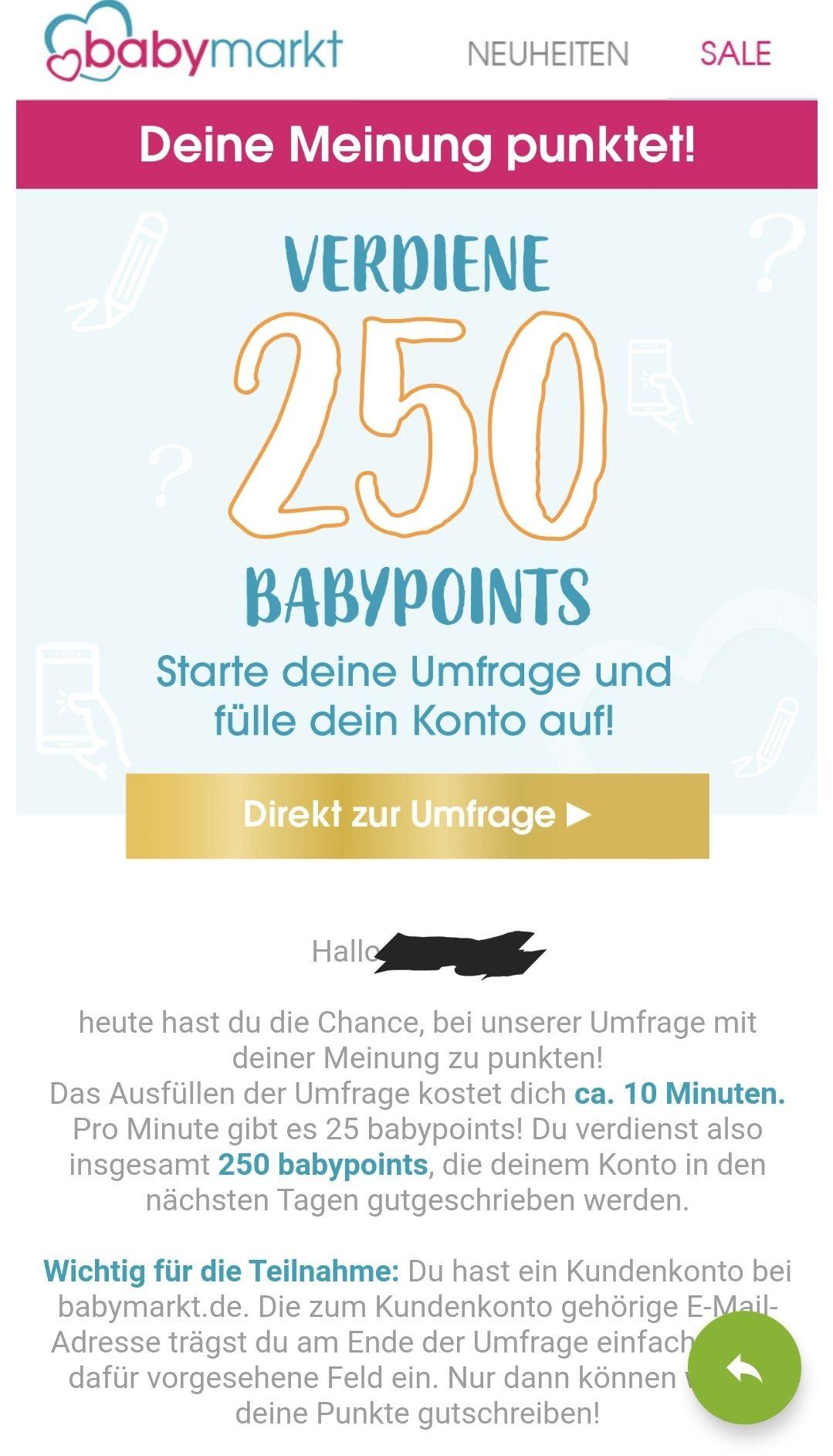 Umfrage bei babymarkt für 250 babypoints