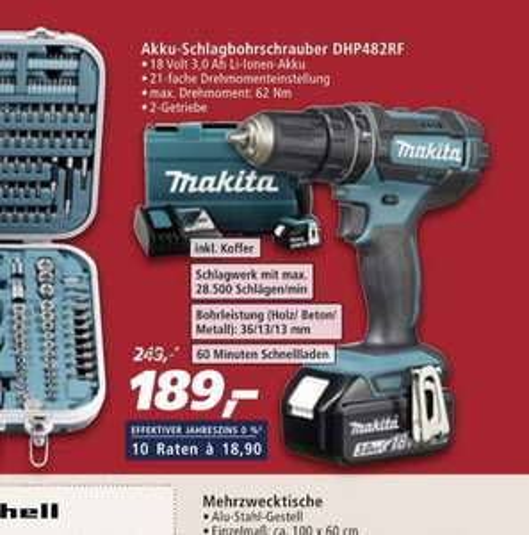 [real] Makita Schlagbohrschrauber 18V 3Ah DHP482RF
