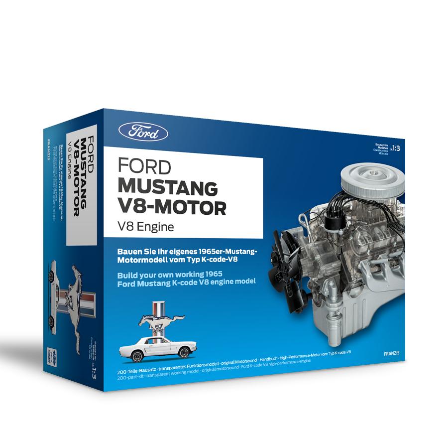 Ford Mustang V8-Motor | 200-Teile Bausatz: Transparentes Funktionsmodell + reich bebildertes Handbuch | Basteln für Auto-Fans | Ab 14 Jahren