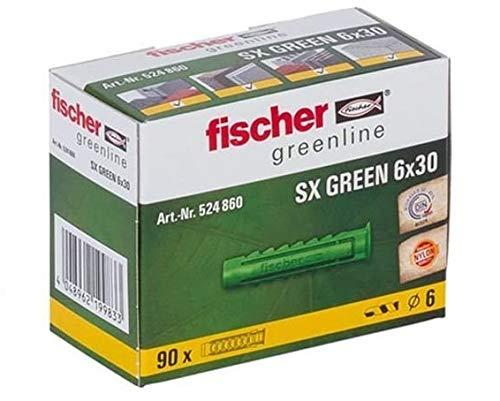 fischer Spreizdübel SX GREEN 6 x 30, Schachtel mit 90 nachhaltigen Dübeln (Prime)