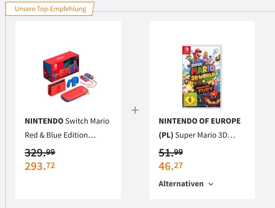 NINTENDO Switch Mario Edition + Super Mario 3D World + Bowser's Fury für 339,99€ / 329,99€ mit Gutschein (Switch 278€ möglich)