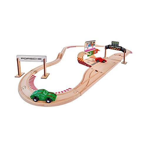 Eichhorn - Schienenbahn Set Porsche Racing, 31-tlg., inkl. Zubehör, Streckenlänge: 350cm