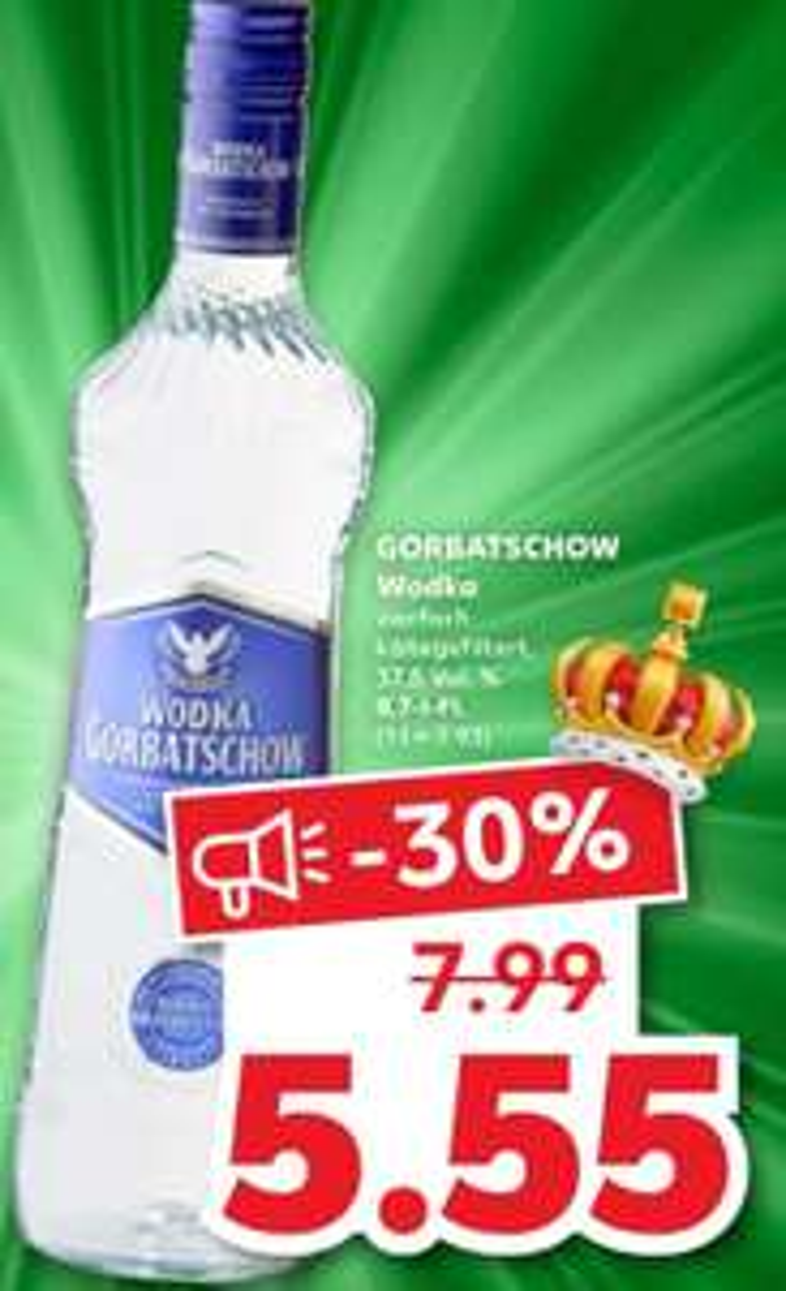 [Kaufland] Gorbatschow Wodka 0,7l (bei REWE 5,99€)