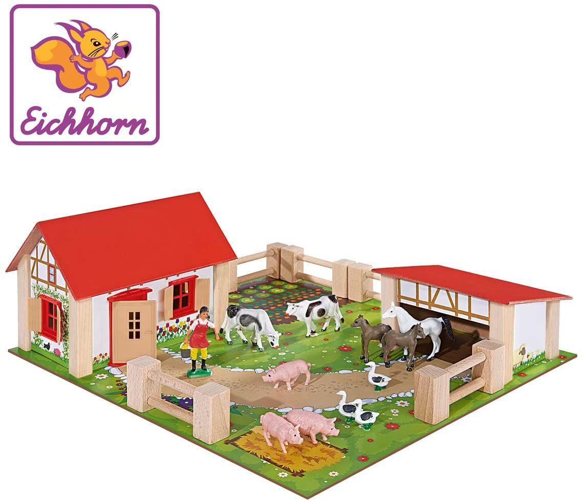 [Thalia Kult Club] Eichhorn 100004304 - kleiner Bauernhof, Bauernhof mit 2 Gebäuden, Spielplatte, Figuren, Tieren, Zäunen; 21-tlg, 36x39cm