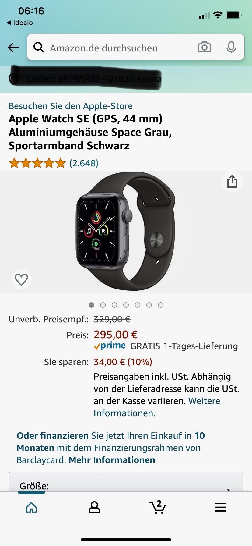 Apple Watch SE (GPS, 44 mm) Aluminiumgehäuse Space Grau, Sportarmband Schwarz