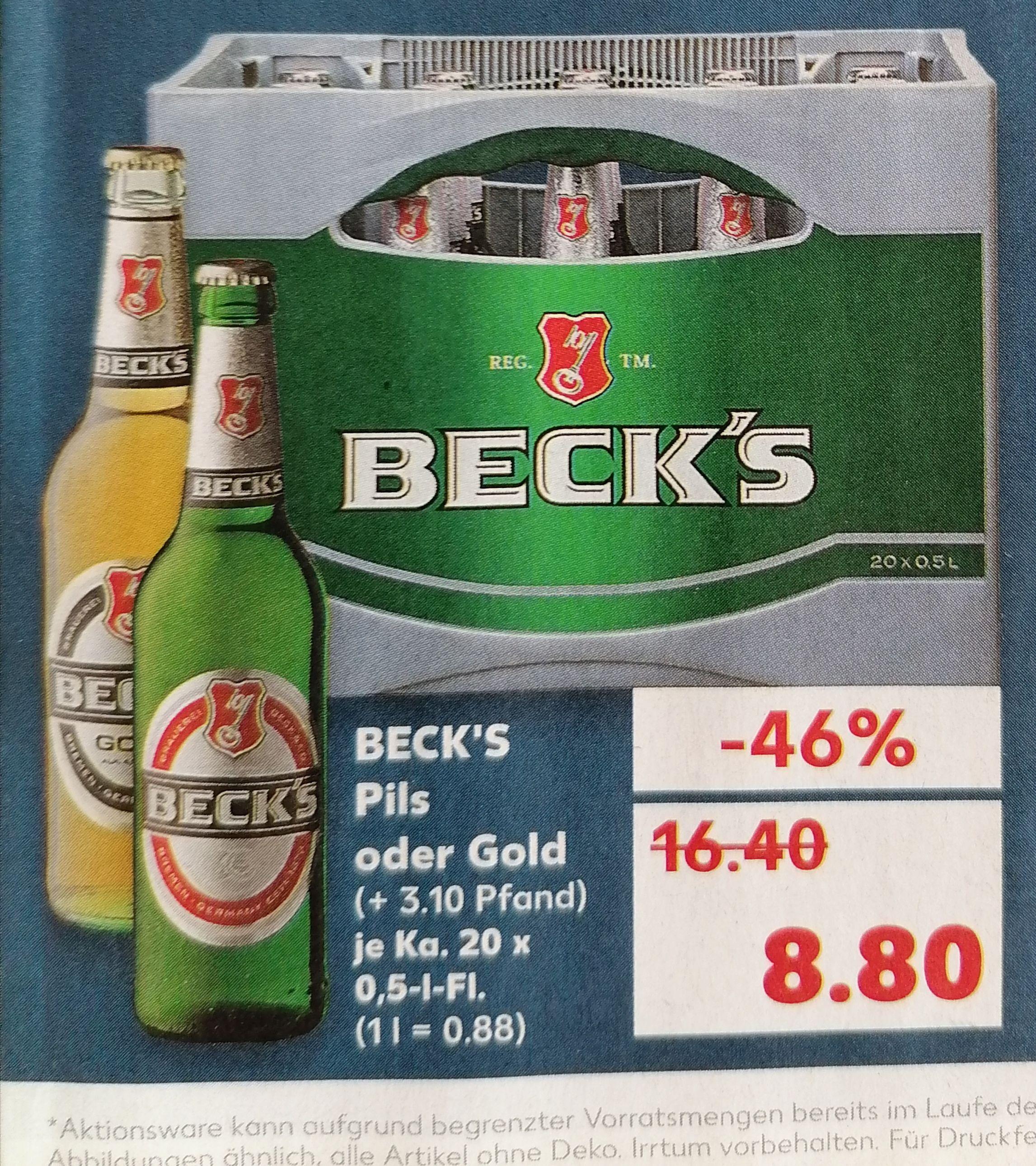 BECK'S Gold oder Pils, 20x0,5L, Bier, KAUFLAND, regional