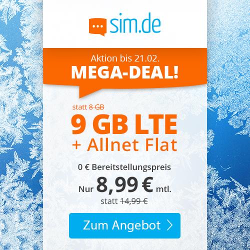 9GB LTE sim.de Tarif für mtl. 8,99€ mit Allnet- & SMS-Flat + VoLTE & WLAN Call (3 Monate / 24 Monate; Telefonica-Netz)