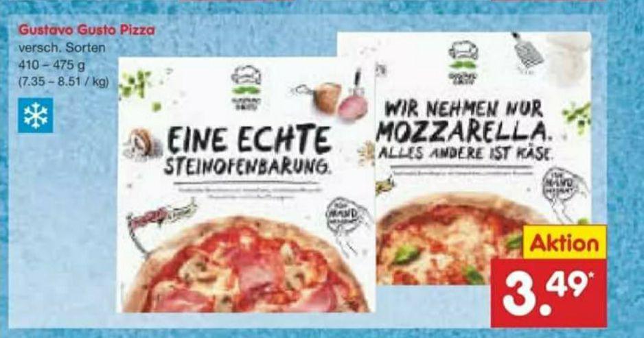 [Netto MD u. Tegut] Gustavo Gusto Pizza versch. Sorten im Angebot für 3,49€