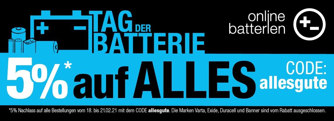 5% auf viele Artikel (außer Banner, Varta, Duracell & Exide) bei Online-Batterien.de