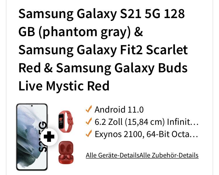 Samsung Galaxy S21 5G 128 GB & Samsung Galaxy Fit2 & Samsung Galaxy Buds Live inkl. Allnet + 10GB LTE max. 50 Mbit/s