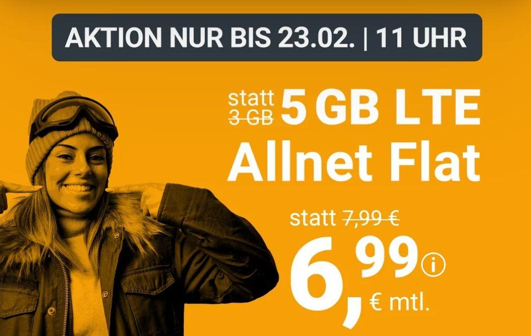 winSIM Handyvertrag 5 GB LTE Allnet Flat 6,99€ mtl. oder 14 GB nur 14,99€ mtl. | bis zum 23.02. um 11 Uhr