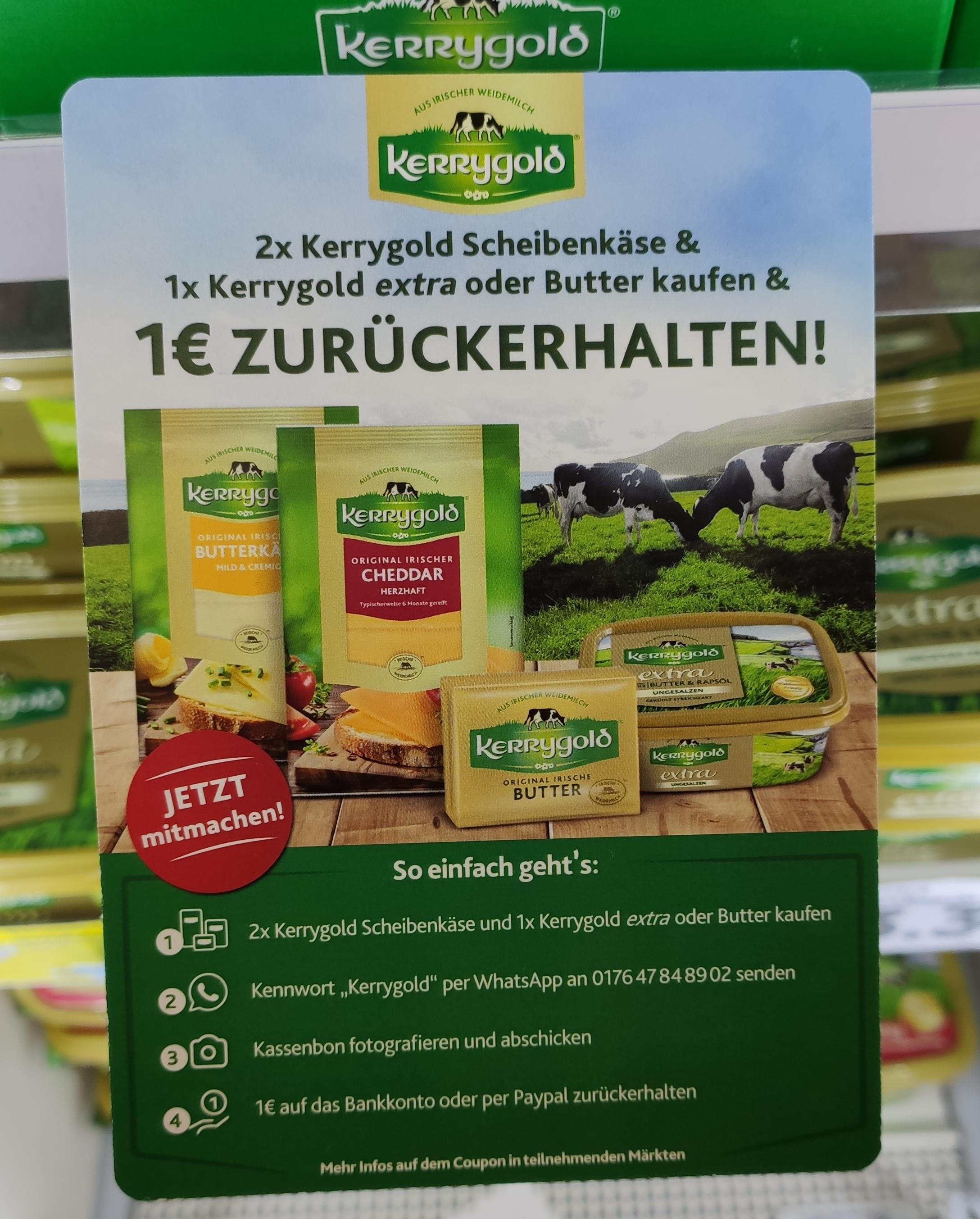 1€ Cashback für 2x Kerrygold Scheibenkäse & 1x Kerrygold extra oder Butter