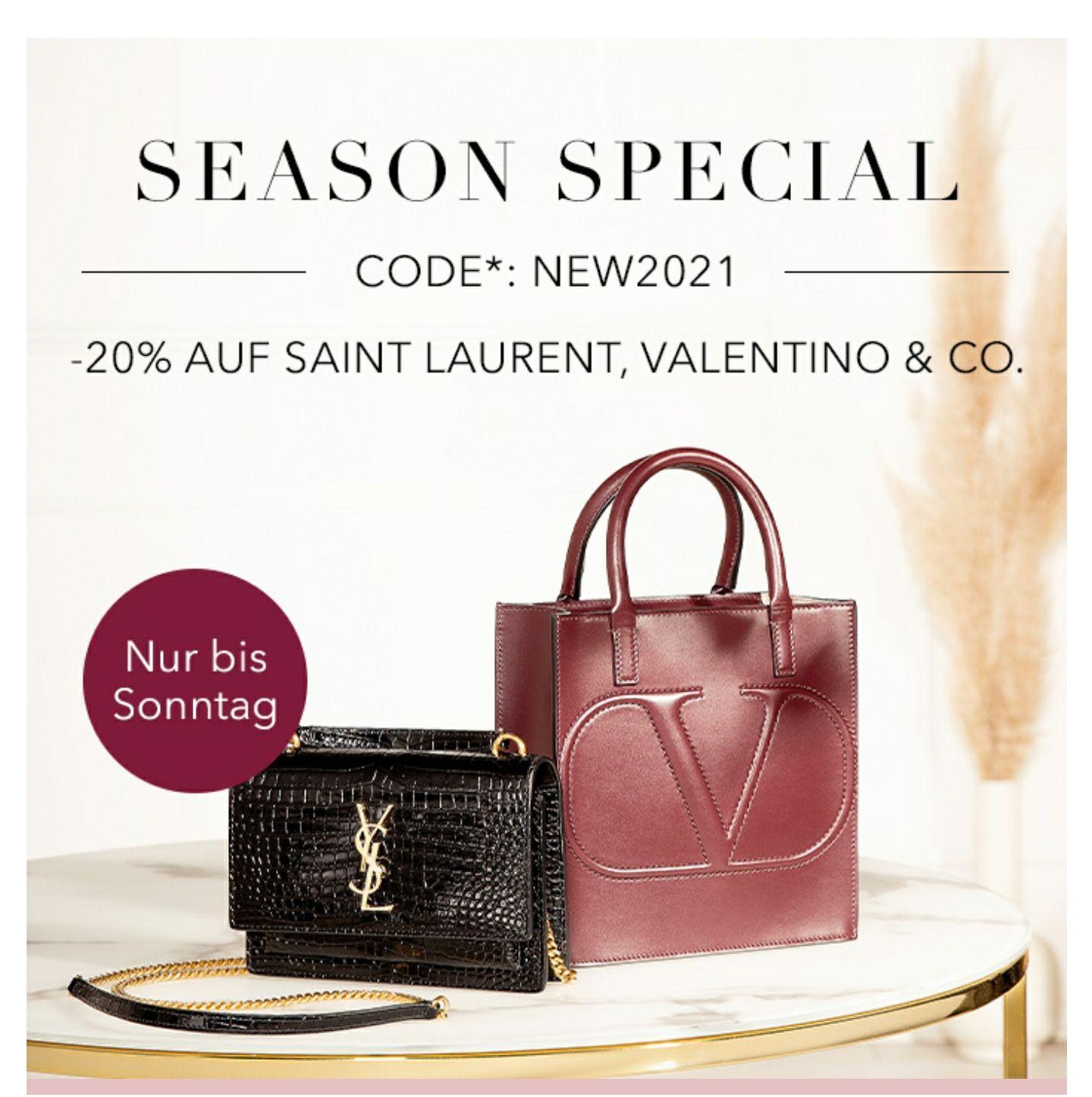 Balenciaga, Marc Jacobs, Saint Laurent: 20% Rabatt auf ausgewählte New Season Artikel bei fashionette