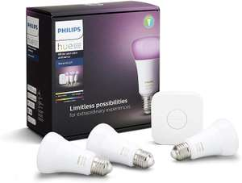 Philips Hue White & Color Ambiance Starter Set 3x E27 LED + Bridge (Bluetooth, Amazon Alexa, Apple HomeKit, Google Assistant)
