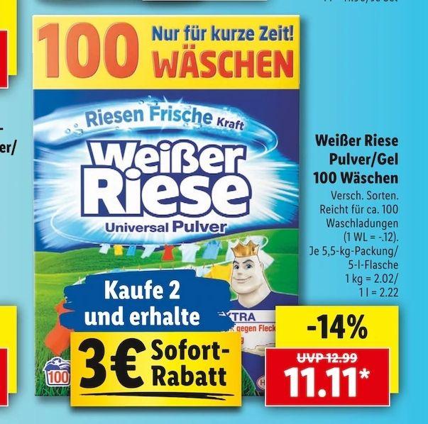 Weißer Riese Waschpulver 100 Wäschen