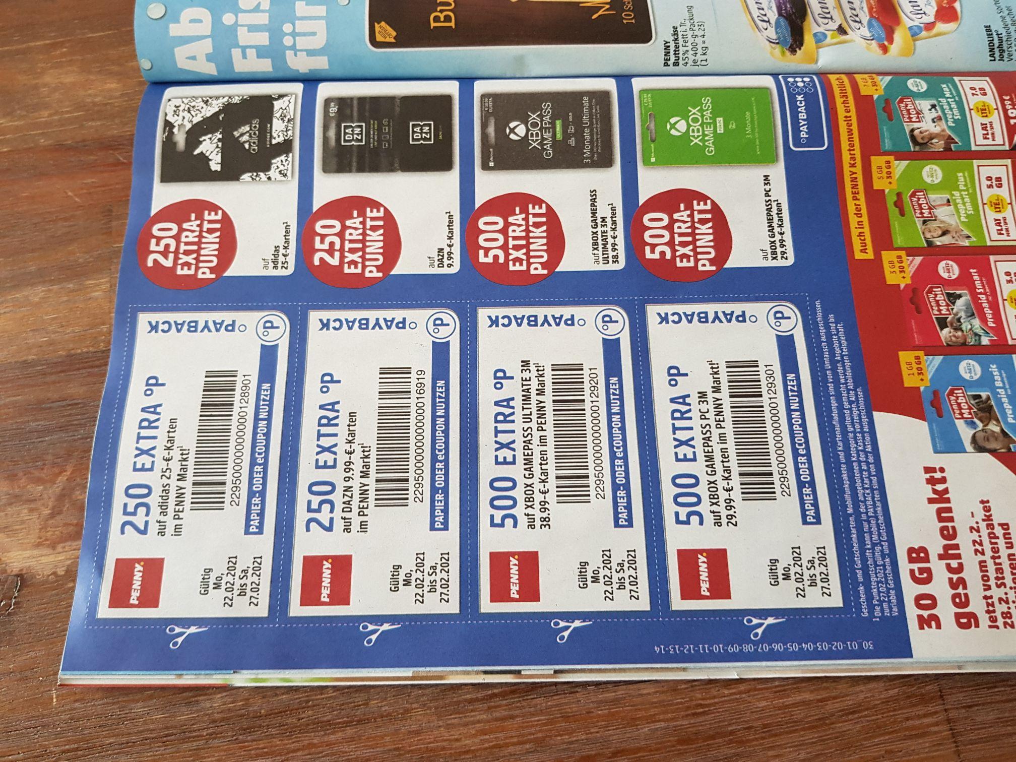 Bis zu 500 Paybackpunkte auf Gutscheinkarten (Dazn, Adidas, Xbox)