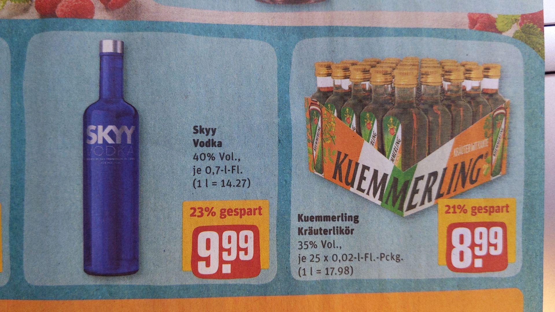 [Rewe] Skyy Vodka 0,7 l 40% | Kuemmerling Kräuterlikör 25 X 0,02