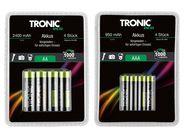 [Lidl] Tronic Akkus Ready to use AA (2400 mAh) oder AAA (950 mAh) jeweils 4 St. für 3,99€ und verschiedene Knopfzellen für 1,99€/6 Stück