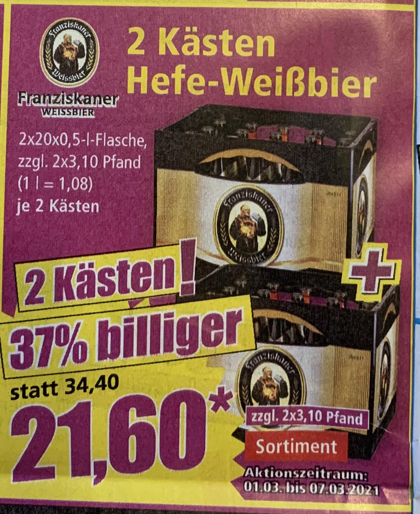 2 Kästen Franziskaner Weißbier 21,60€ @ NORMA