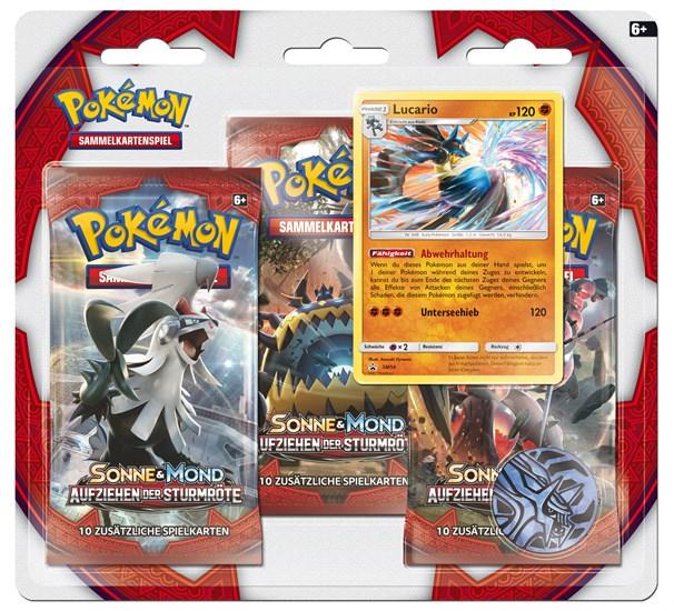 Pokémon Sammelkartenspiel: Sonne & Mond 04 3-Pack Blister Aufziehen der Sturmröte