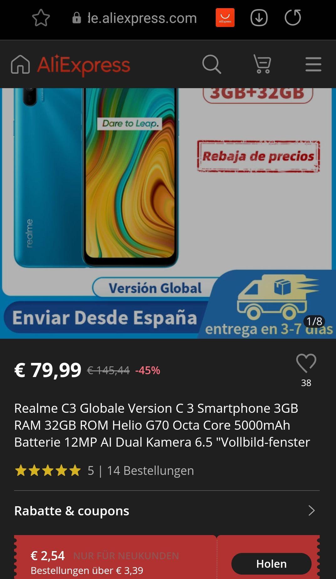 Realme C3 3/32GB 6.5zoll Global Version 5000mAh zollfrei EU-Lager