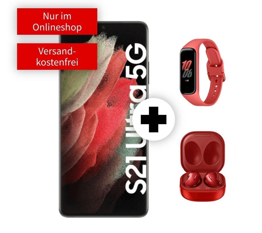 Samsung Galaxy S21 Ultra mit Buds Live und Watch Fit2 im Debitel Vodafone (40GB LTE bis 50Mbit, Allnet/SMS) mtl. 44,99€ einm. 99€