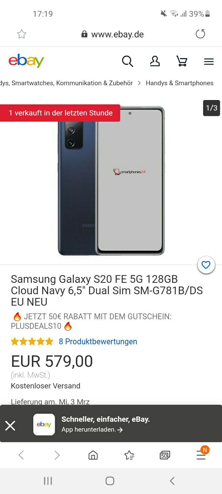 Samsung Galaxy S20 FE 5G mit 128GB Speicher bei eBay