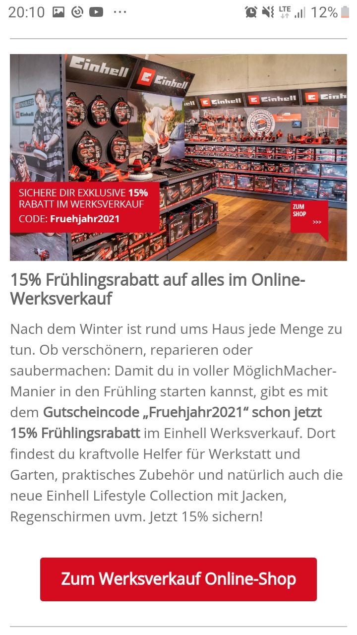 Einhell Werksverkauf: 15 % auf alles im Werksverkauf... super Schnäppchen möglich!!