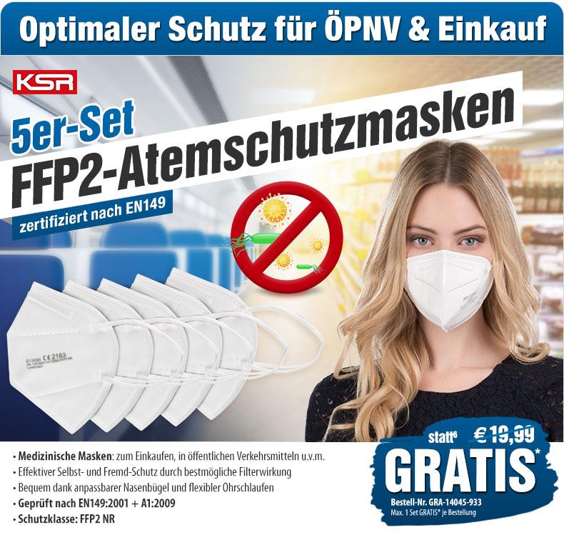 5 FFP2-Masken bei pearl.de kostenlos zu jeder Bestellung oder für 5,95€ Versand