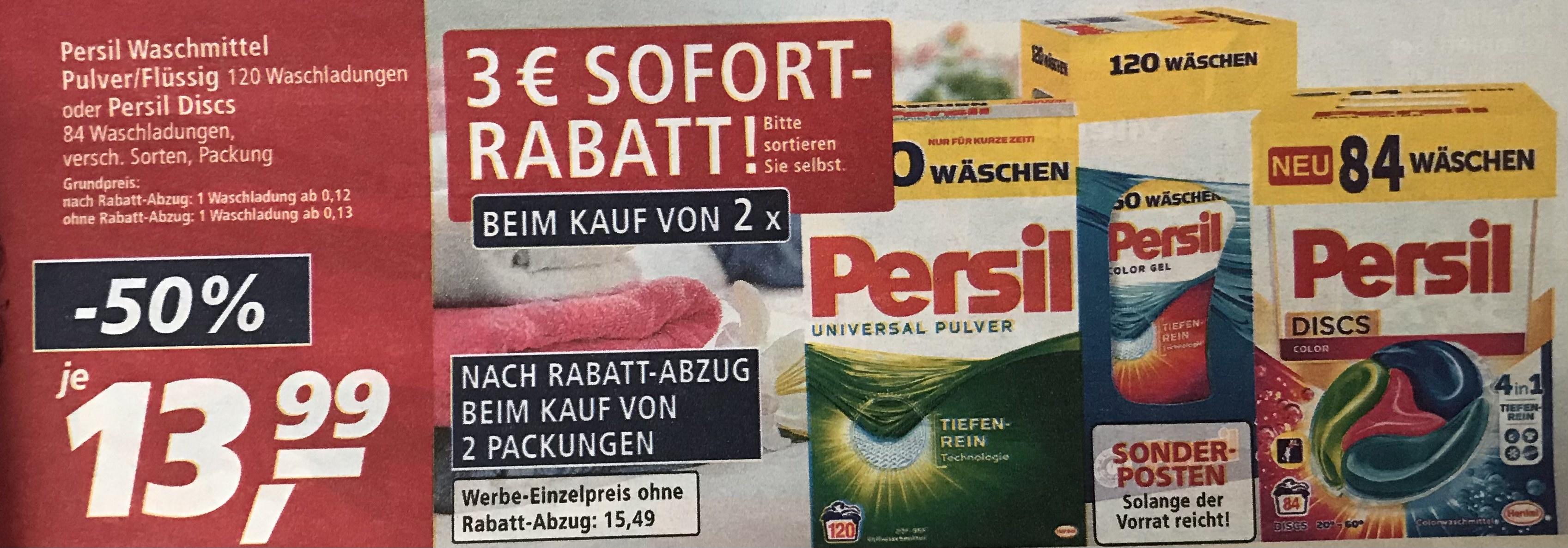 Persil Waschpulver/-mittel 120 WL und Persil Disc 84 WL mit Sofortrabatt ab 2 St.